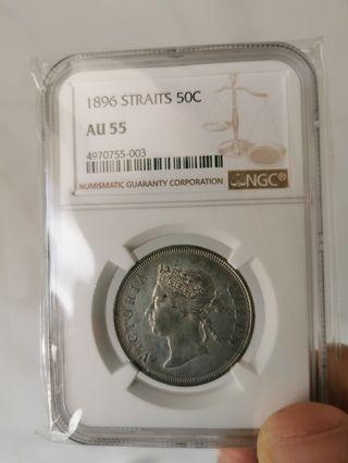 1896 Straits Silver 50 Cents