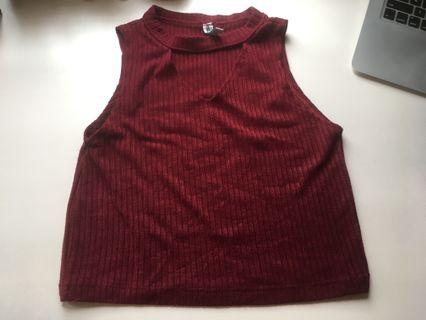 Cropped Maroon Cut-Out Top