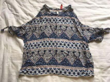 Aztec Patterned Cold Shoulder Top