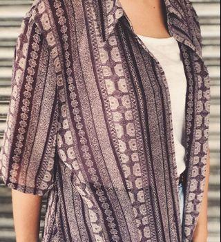 紫色古著襯衫