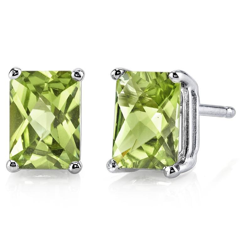 1.7 ct Peridot Stud Earrings 14K White Gold Radiant Cut 7 x 5 mm