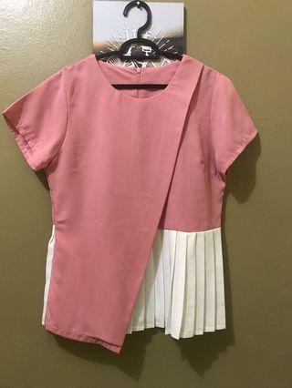 Blouse pink putih