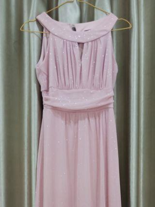 BAJU PESTA PROM LONG FORMAL DRESS DUSTY PINK PASTEL GLITTER
