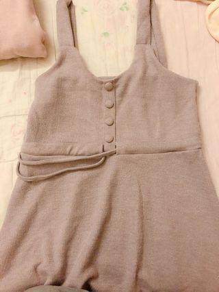 紫針織背心裙