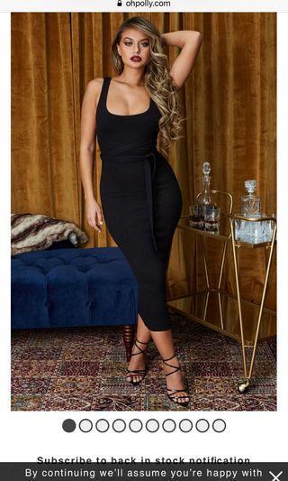 Midi dress in black ohpolly