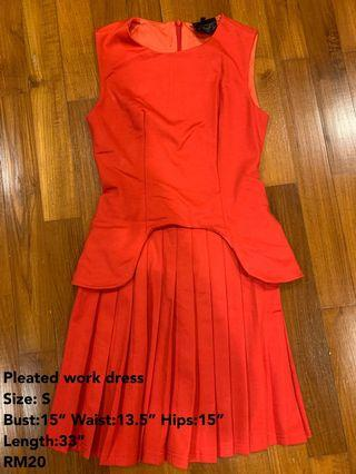 Red pleated work dress #Style