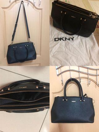 九成新-正品DKNY真皮手提肩背斜背包兩用包