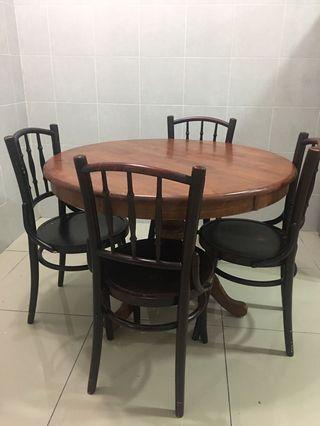 Vintage Kopitiam round table wooden solid wood