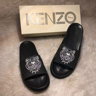 KENZO pool sandals PVC Tiger Head Black Authentic