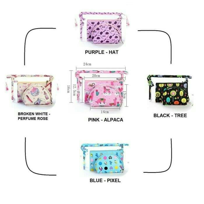 3 in 1 set pouch kosmetik PRINTED DESIGN edition