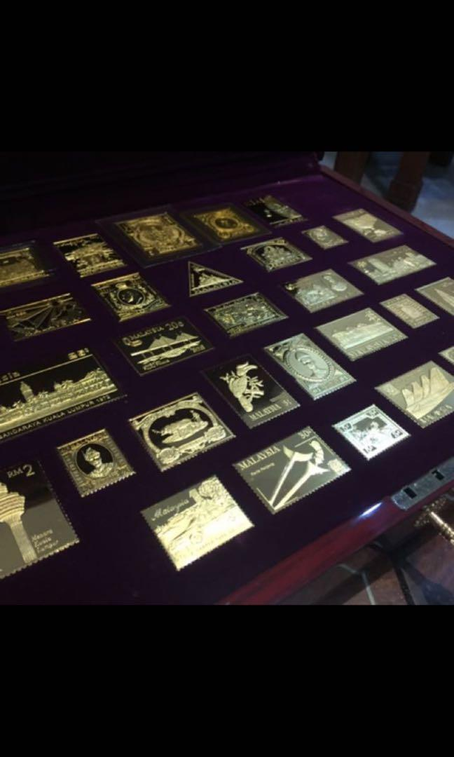999 Gold Plated Solid Pure Silver Malaysia Stamps Complete Set(limited edition)
