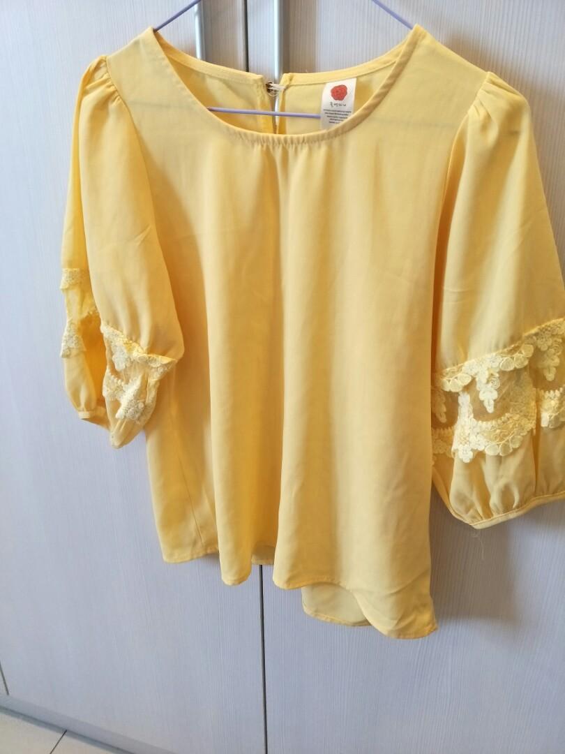 韓版 黃色甜美蕾絲上衣