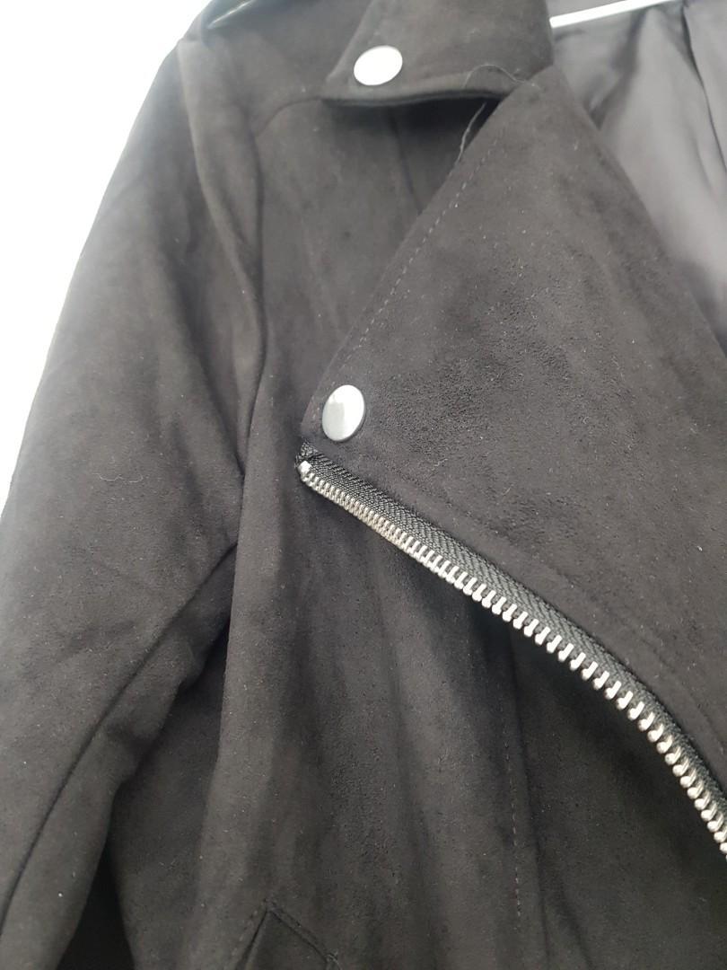 Biker jacket bomber coat velvet suede black formal casual   missguided