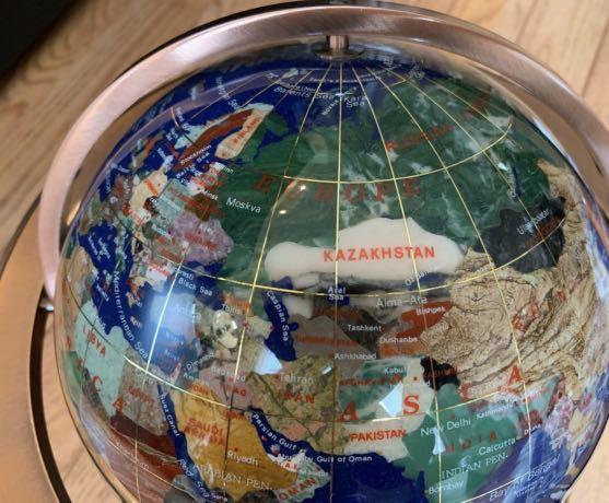 BRAND NEW decorative globe with semi precious stones (lapis lazuli)