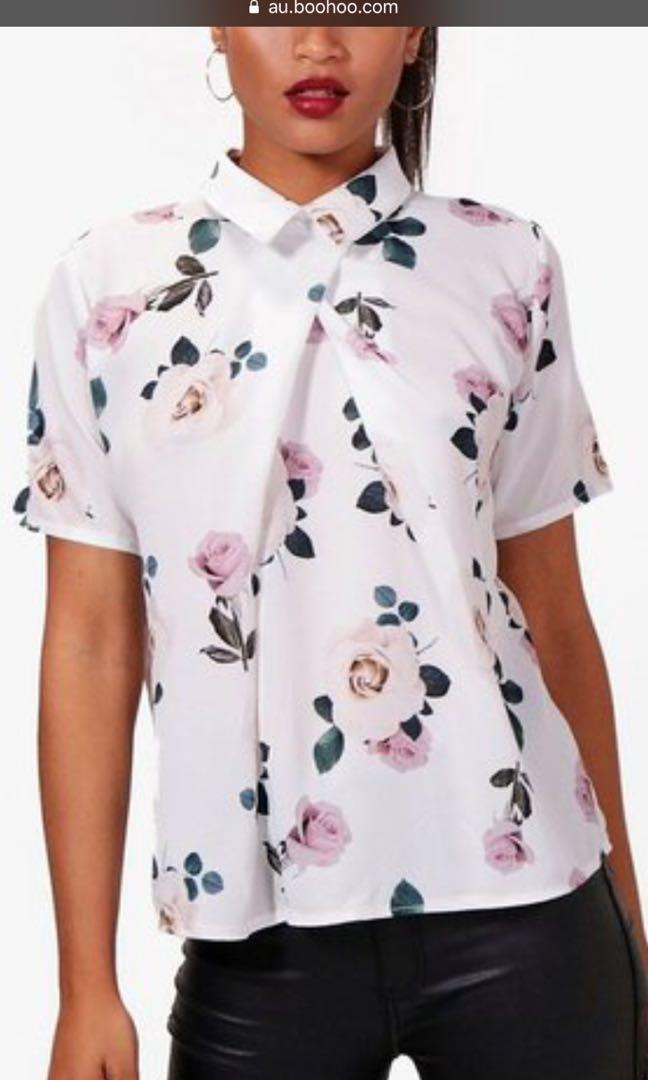 Cute Chic Floral Collar Top
