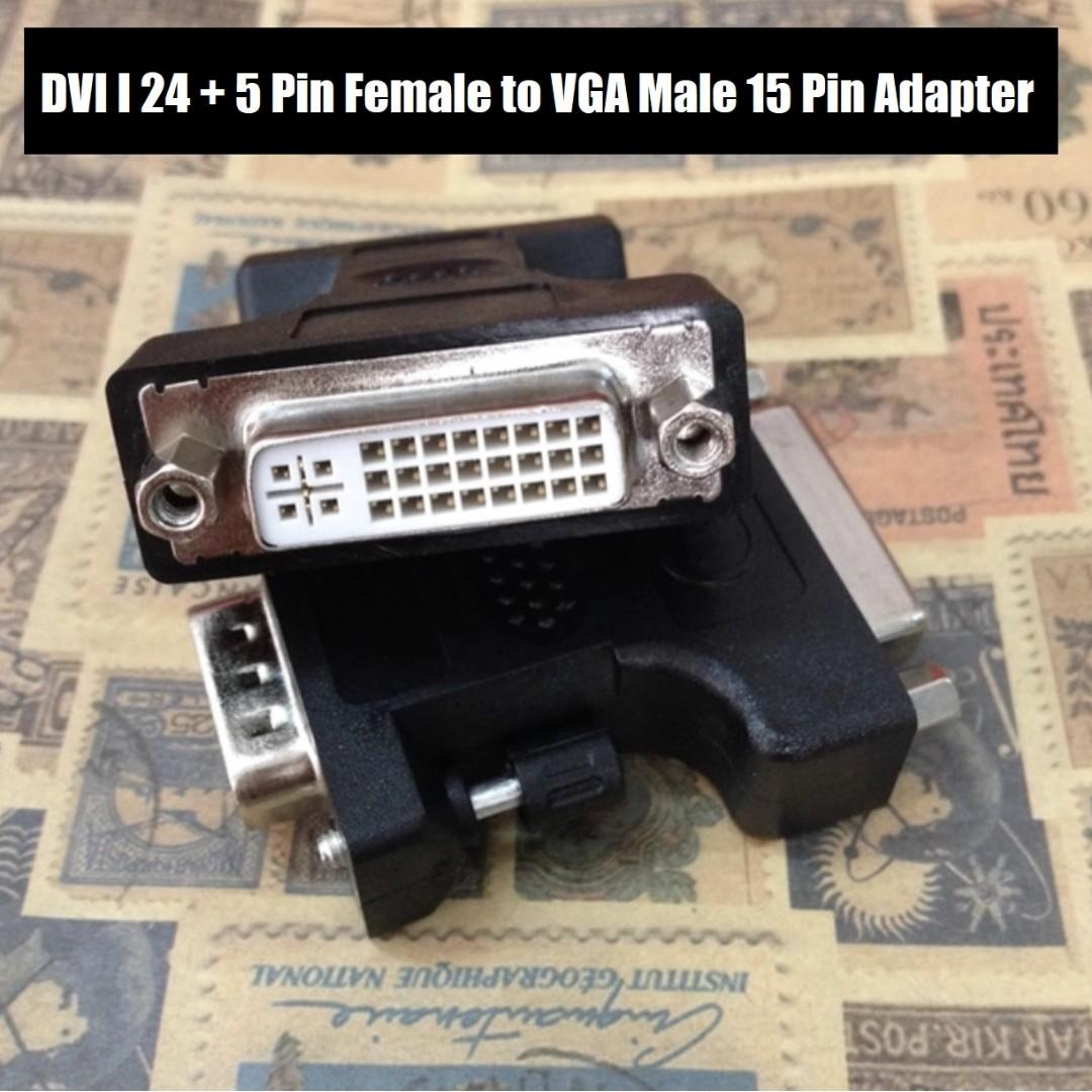 BEST OFFER!! DVI I 24 + 5 Pin Female to VGA Video Male 15 Pin Adapter Black