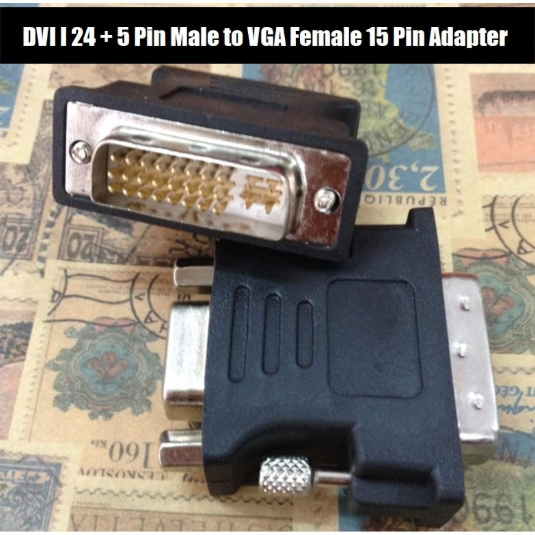 BEST OFFER!! DVI I 24 + 5 Pin Male to VGA Video Female 15 Pin Adapter Black