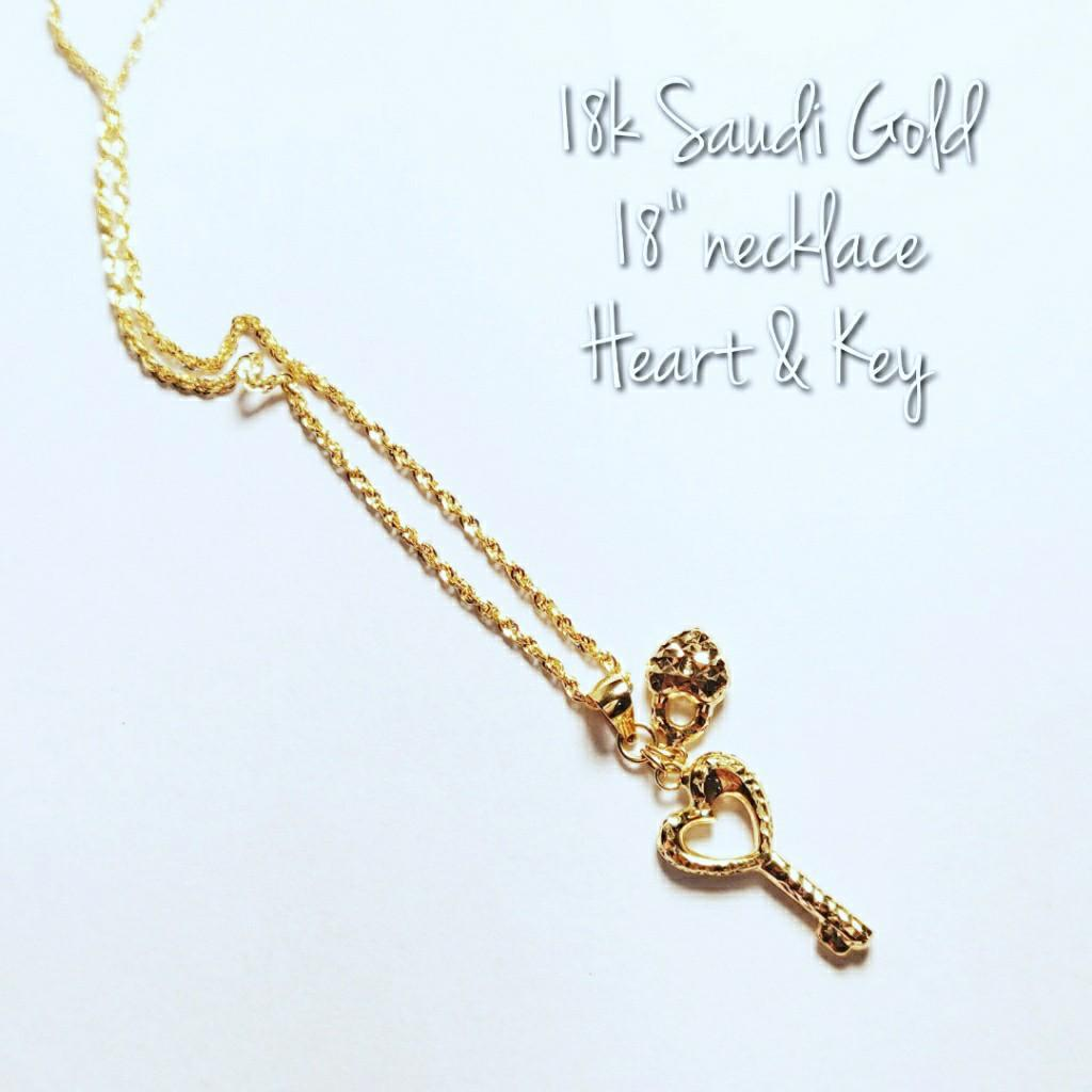 Jewelry 18k Saudi Gold 18 Necklace With Heart Key Pendant Women S Fashion Jewelry Necklaces On Carousell