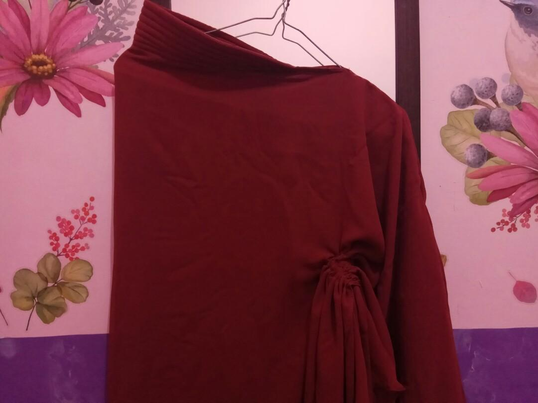 #bagibagi Jilbab Instan serut maroon