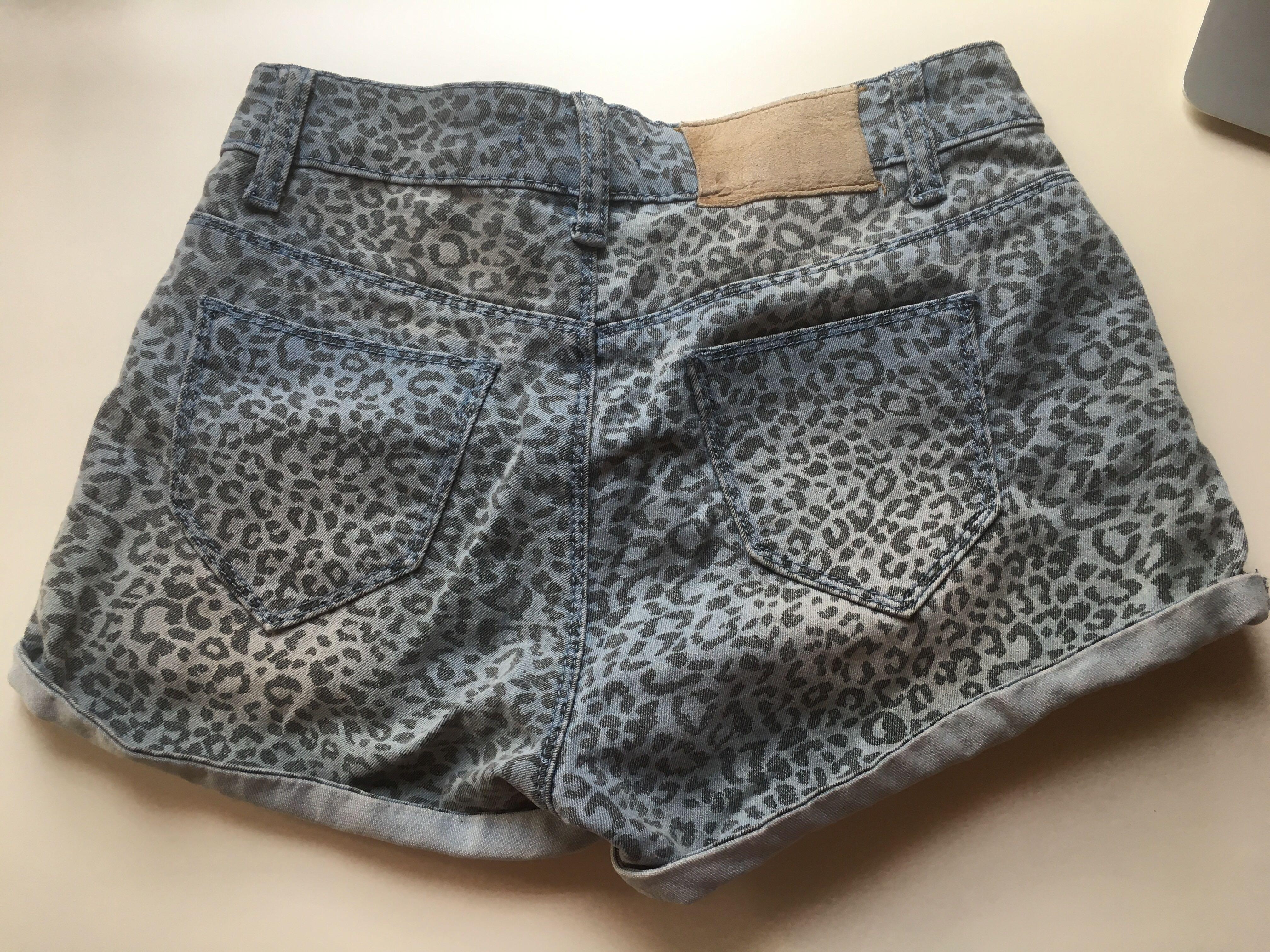 Leopard Print Denim Shorts