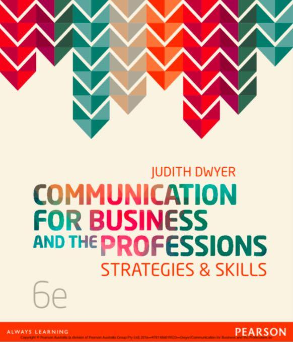 Management textbook - Communication for Business and the Professions 6th edition