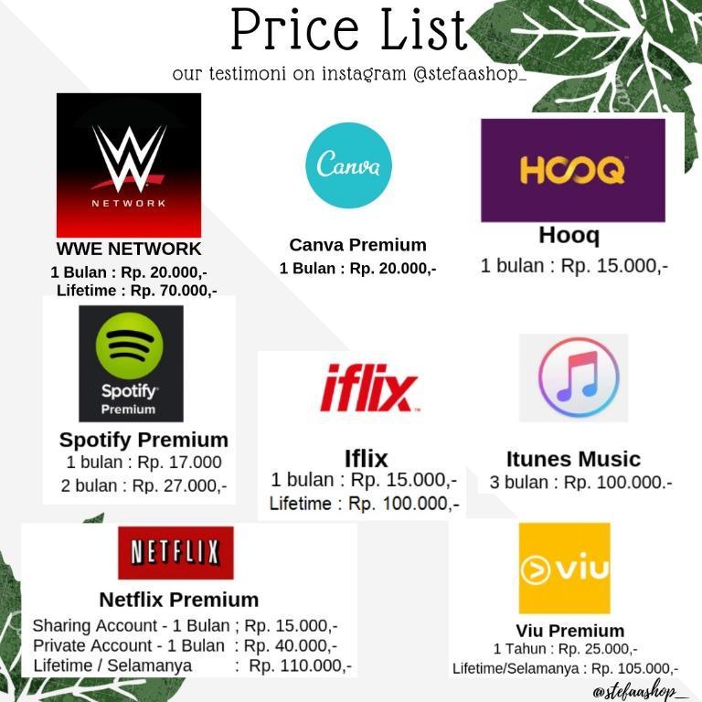 Netflix Premium, Spotify, Viu, Iflix, Hooq Termurah