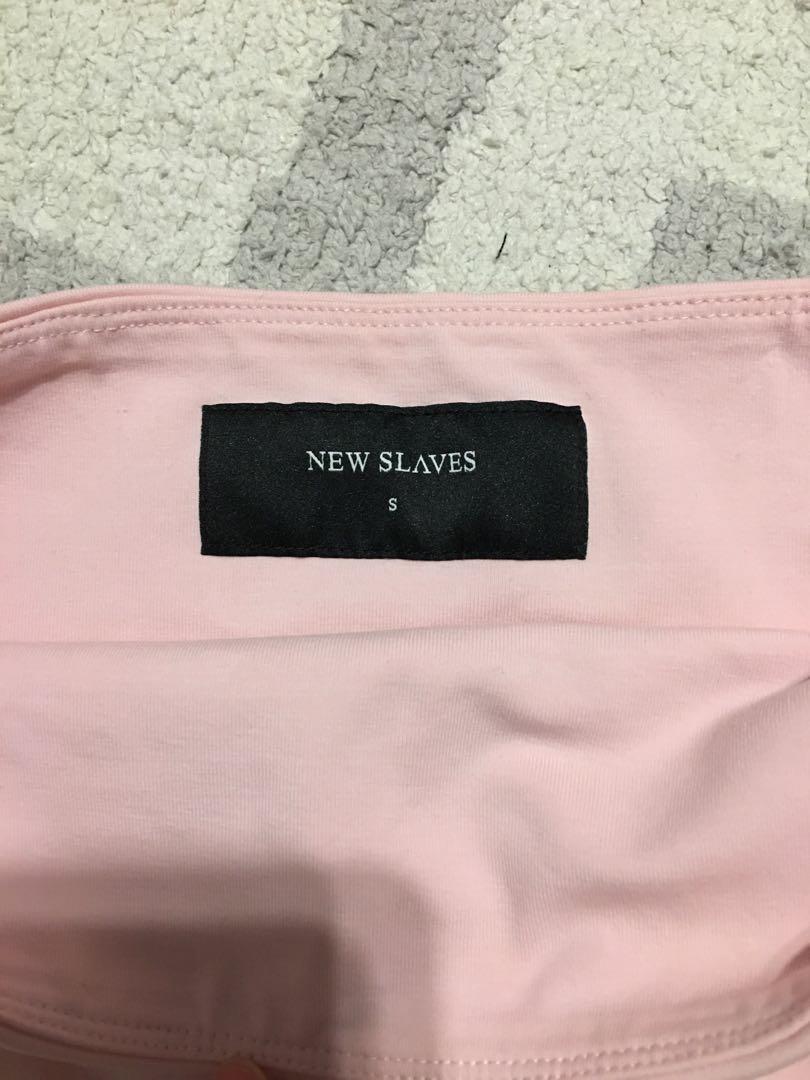 NEW SLAVES pink bandeau crop