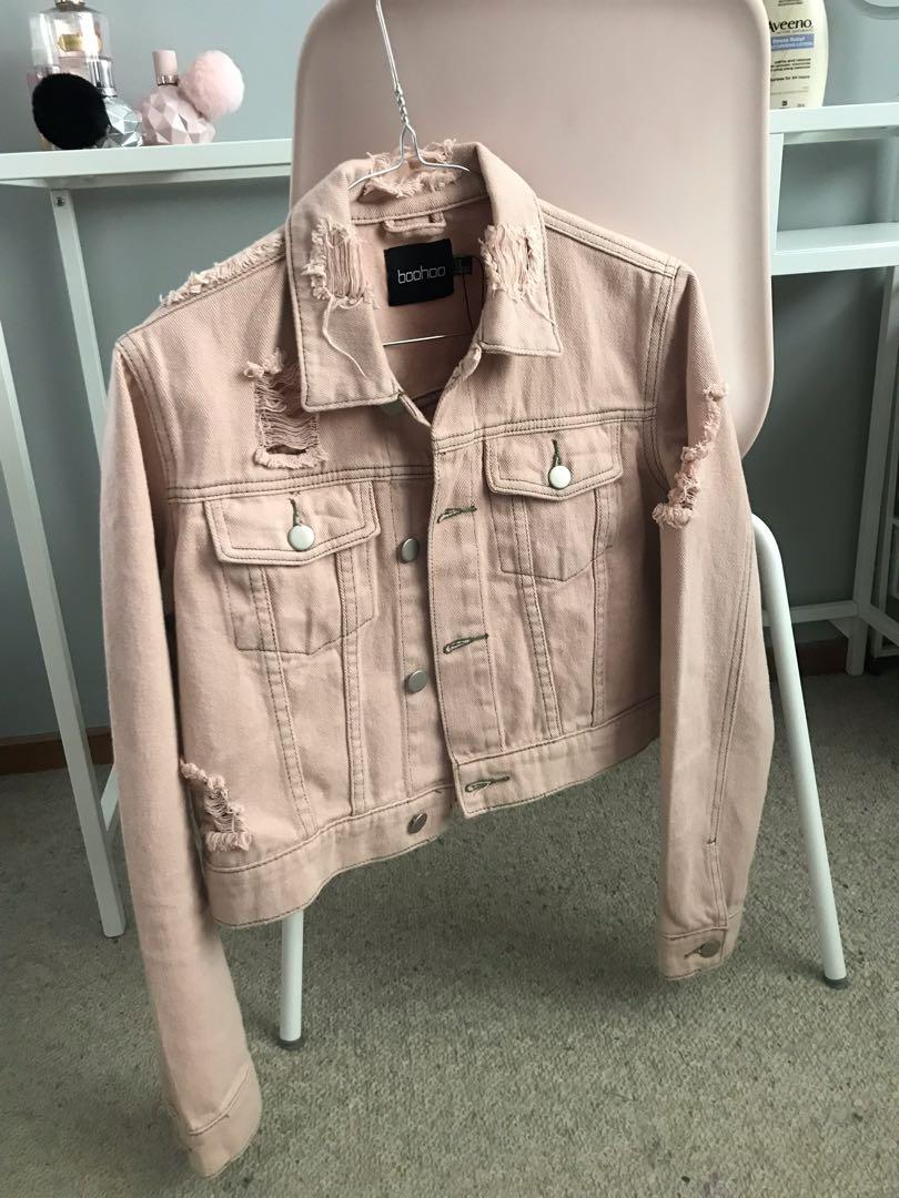 Pink Cropped Denim Jacket