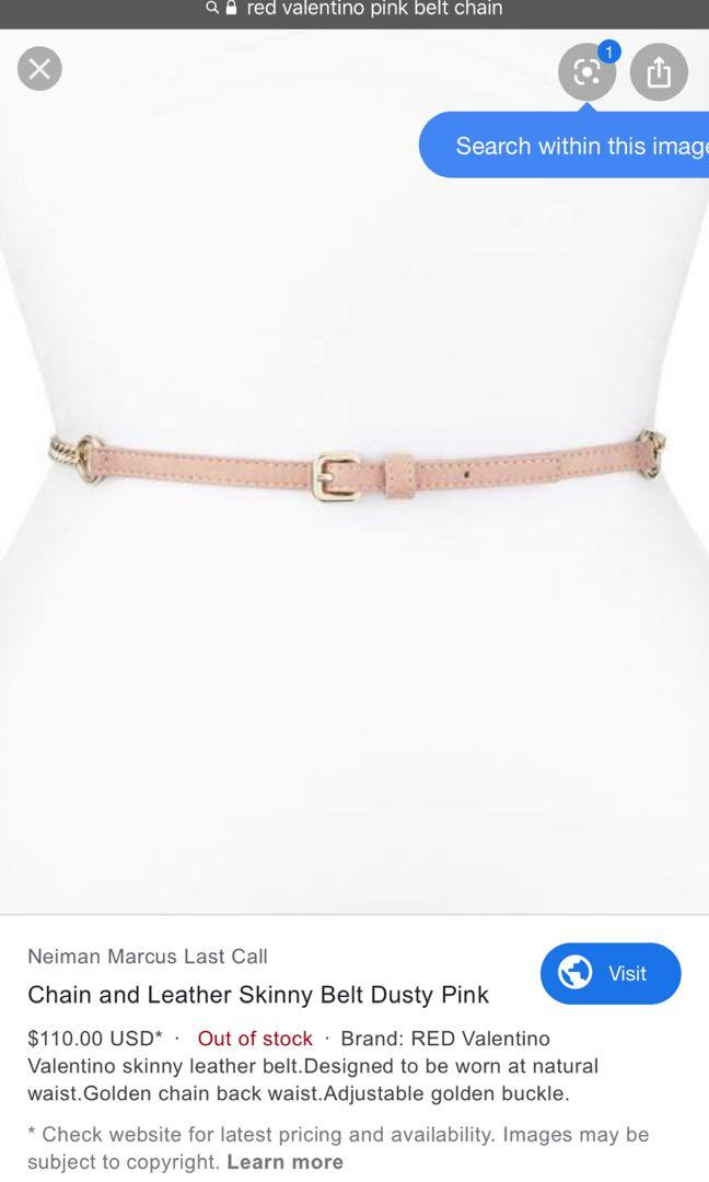 Red Valentino  Chain and Leather Skinny Belt, Dusty Pink