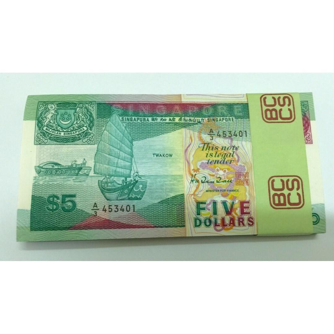 1989 $5 Singapore Banknote Pick 19 Grade Uncirculated