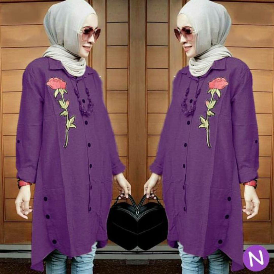 TUNIC ROSE/baju tunik wanita/atasan muslim wanita/jumbo/bigsize