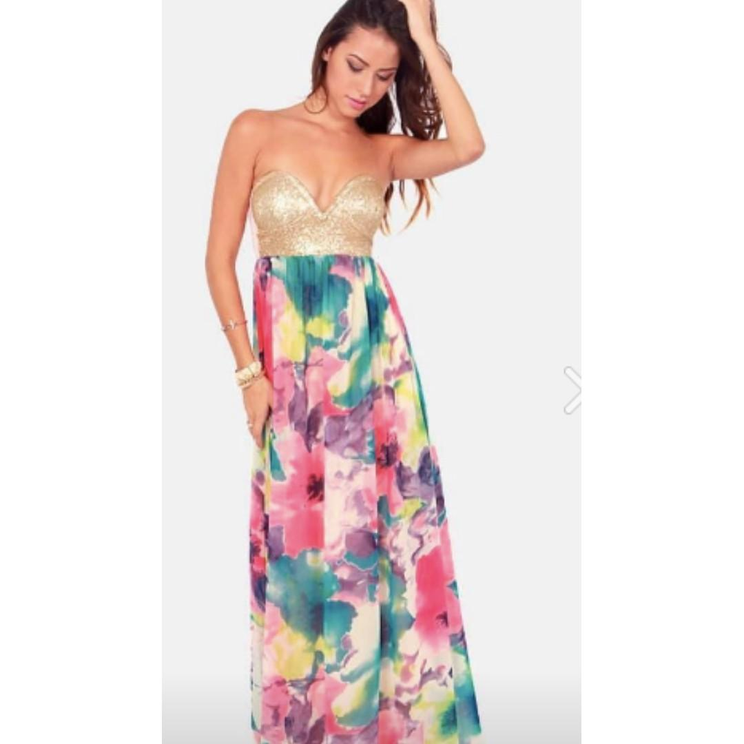 URBAN OUTFITTERS Floral Sequin Maxi Dress S [NEW!]