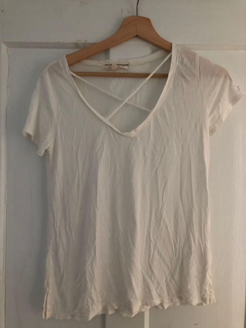 Urban Outfitters white cross t-shirt. Size small, (fits bigger, could fit M)