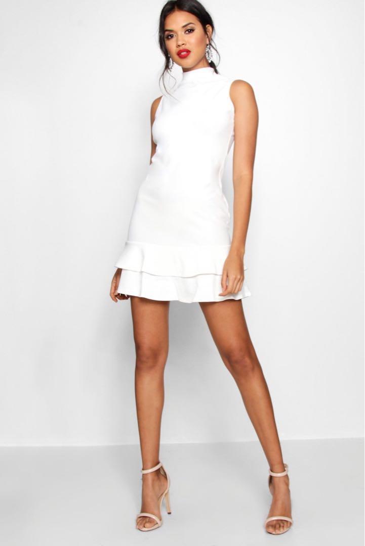 White ruffle dress size 10