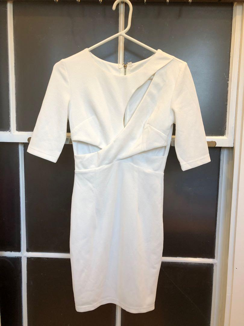 Women's White Size 8 Small Cocktail Dress with cutouts