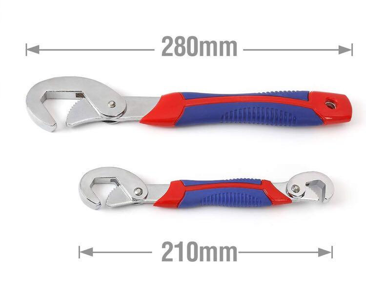 WORKPRO Adjustable Wrench Spanner Set 2-Piece, Multi-Function Universal Quick Snap and Soft Grip (M3199)