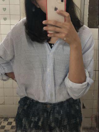 文青條紋女襯衫