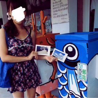 深藍色碎花綁帶短裙