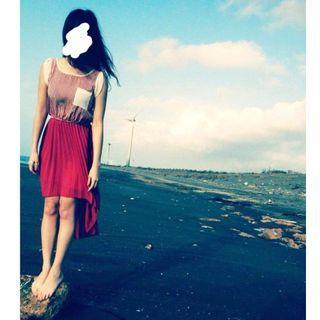 橘紅條紋前短後長雪紡洋裝