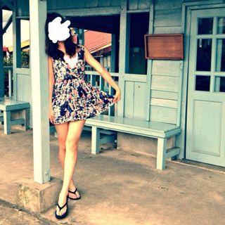 藍粉色印花短洋裝