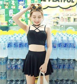 黑色顯瘦大胸 三件式鋼圈泳衣(原價1099)全新僅試穿