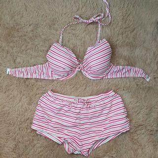 甜美紅白條紋 兩件式鋼圈泳衣