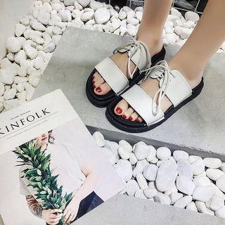 時尚百搭 個性 厚底 白色 拖鞋 一字拖