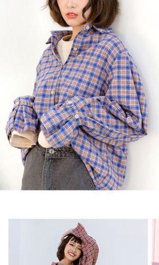 格子捲袖襯衫 #出清2019