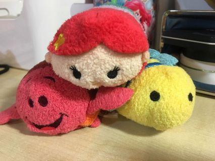 (一組賣)Tsum tsum 迪士尼 正版 小美人魚 小比目魚 賽巴斯丁