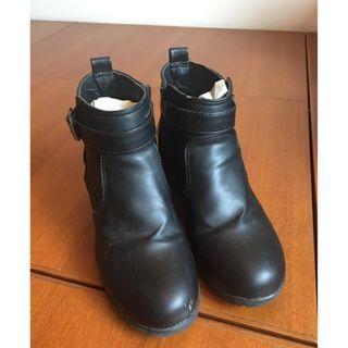 秋冬 皮革 短靴 皮靴 厚底靴