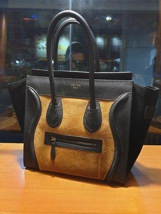 Celine Mini Luggage Smooth Calfskin Brown Suede AUTHENTIC