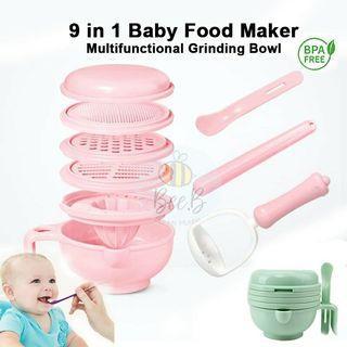 9 in 1 Baby Food Making Maker Set Multi functional Grinding Bowl Masher