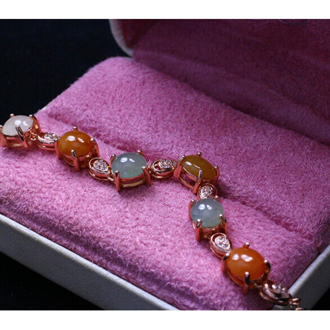 100% natural 14ct grade A icy orange green jade jadeite bracelet silver 925 j565
