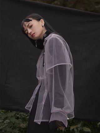 芋紫細柔網紗襯衫外套